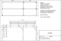 Konstruktionszeichnung Hochbett